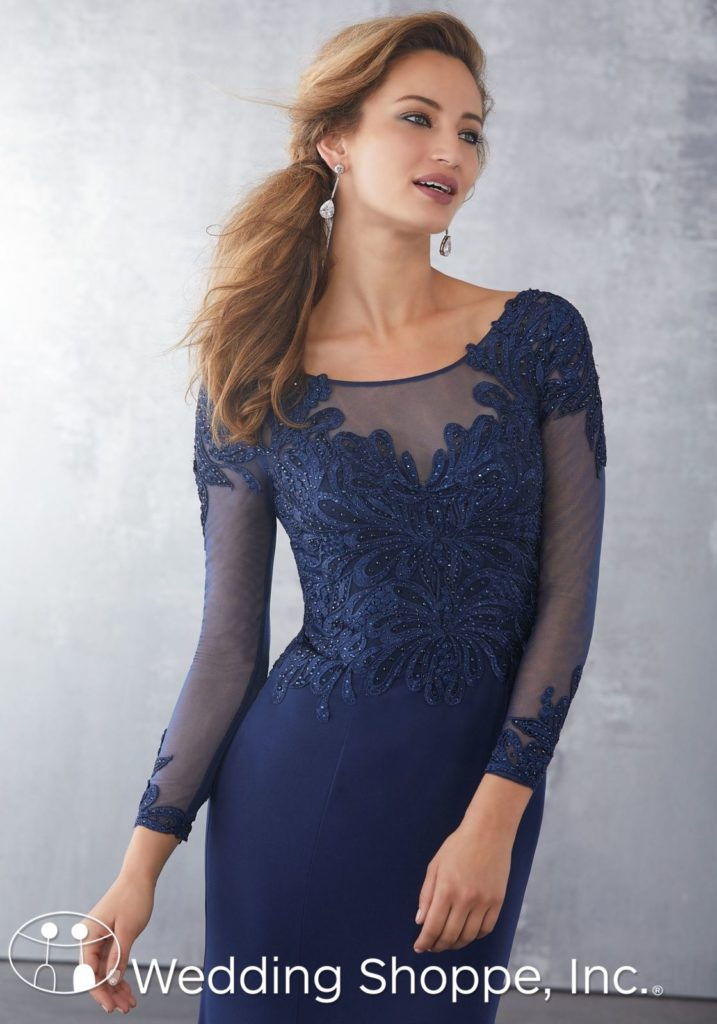 Navy Long sleeve mother of the bride dress