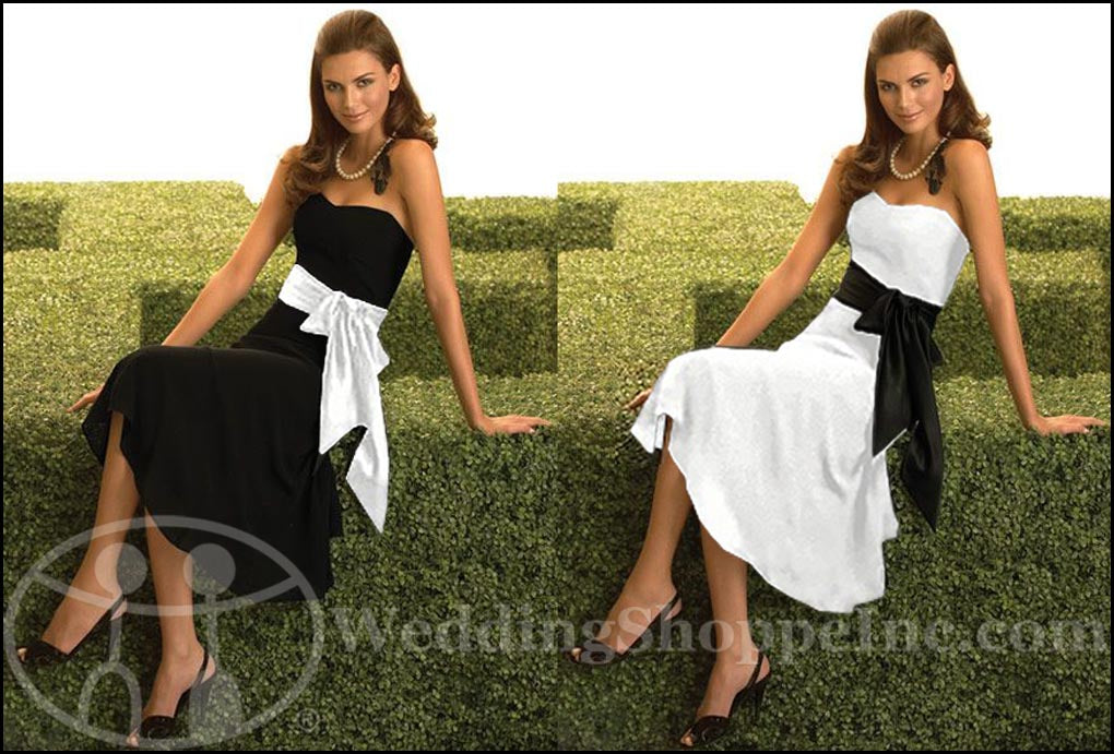 Black and White Bridesmaid Dresses: Dessy 2058