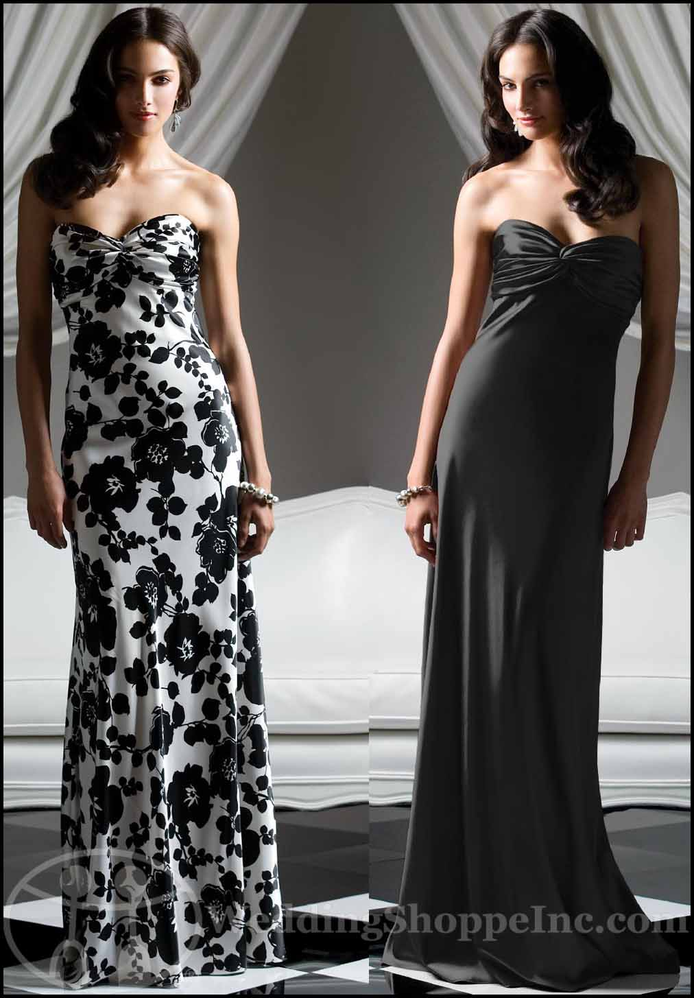 Black and White Bridesmaid Dresses: Dessy 2756