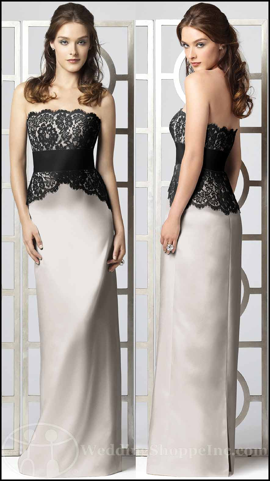 White and Black Lace Bridesmaid Dresses: Dessy 2849