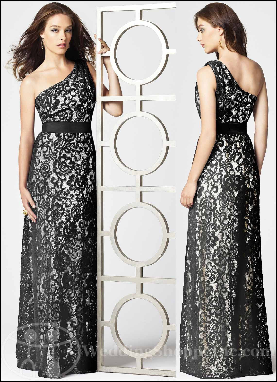 White and Black Lace Bridesmaid Dresses: Dessy 2850