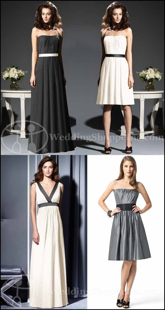 The Dessy Group Black and White Bridesmaid Dresses