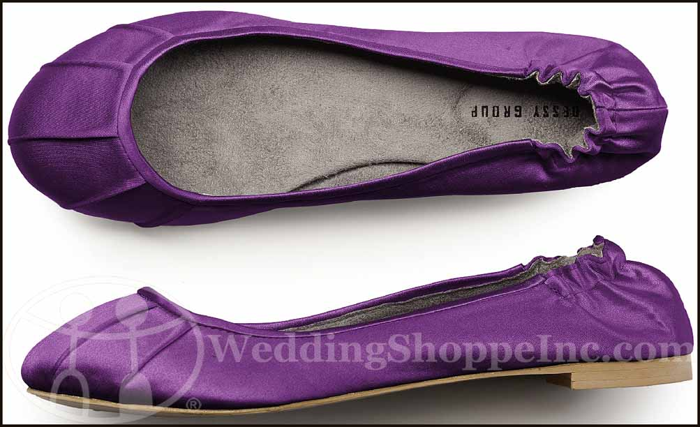 Dessy Pleated Satin Ballet Flats African Violet