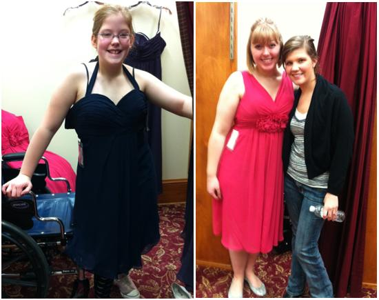 Choosing bridesmaids dresses at The Wedding Shoppe St. Paul