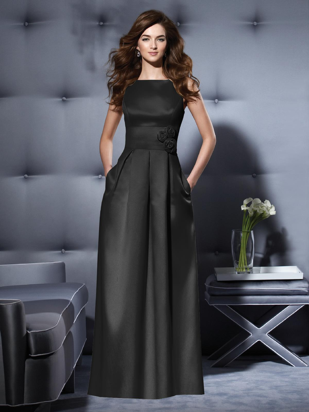Long black bridesmaid dress - Dessy 2796