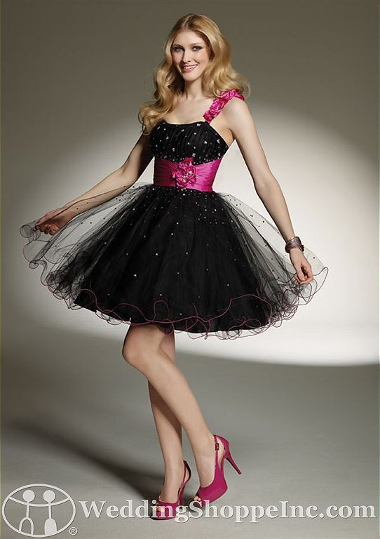 Pink and black homecoming dresses from Mori Lee