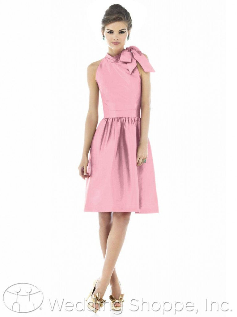 1960s style Pink Alfred Sung bridesmaid dresses