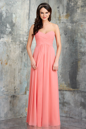 Coral colored bridesmaid dress