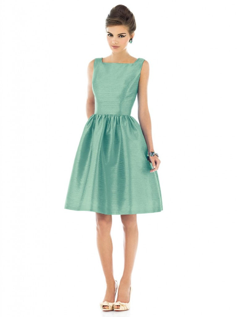 sage green bridesmaid dress by Alfred Sung