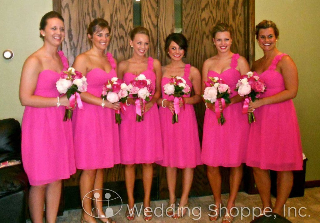 Bridal party wearing Alfred Angelo 7138