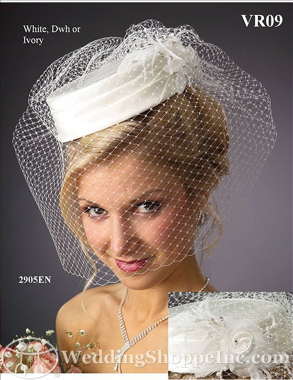 White wedding hats and fascinators: JL Johnson VR09