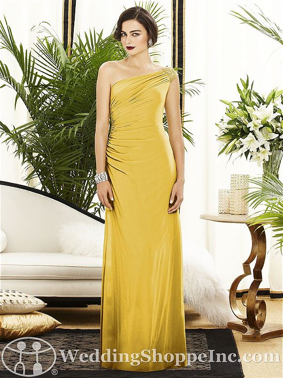Vintage Hollywood glam bridesmaid dresses in yellow