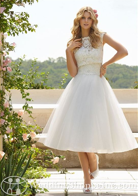 Short white wedding dresses: Mori Lee 6749