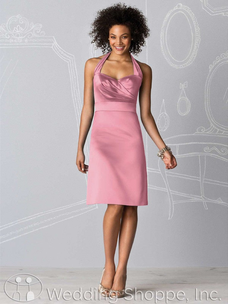 Dusty pink bridal party dresses: After Six 6598 in Carnation