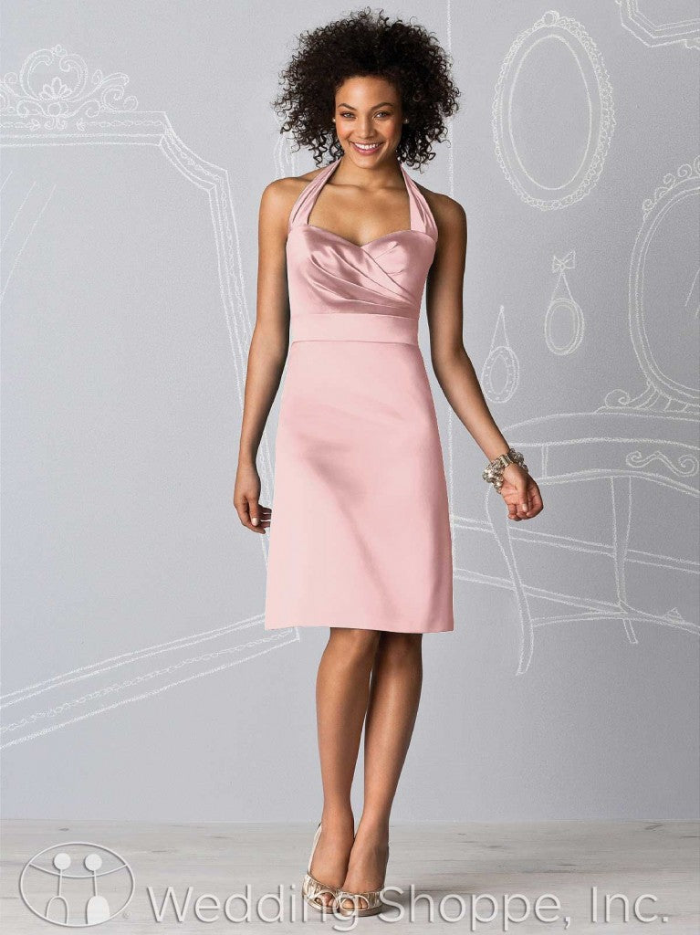 Dusty pink bridal party dresses: After Six 6598 in Rose