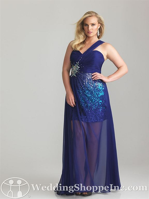 Blue one shouldered prom dress: Night Moves 6769W