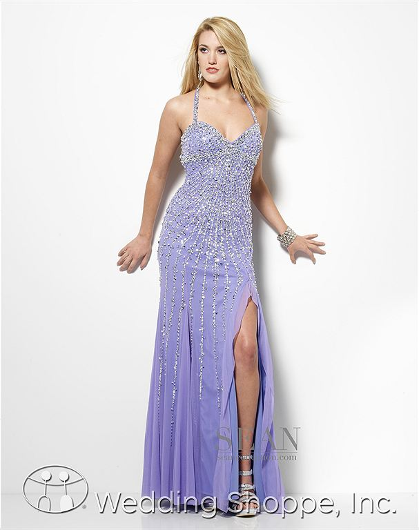 Halter sequin prom dress: Sean Collection 50498