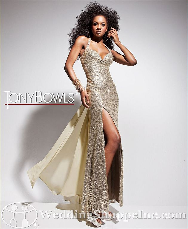Halter sequin prom dress: Tony Bowls 113514