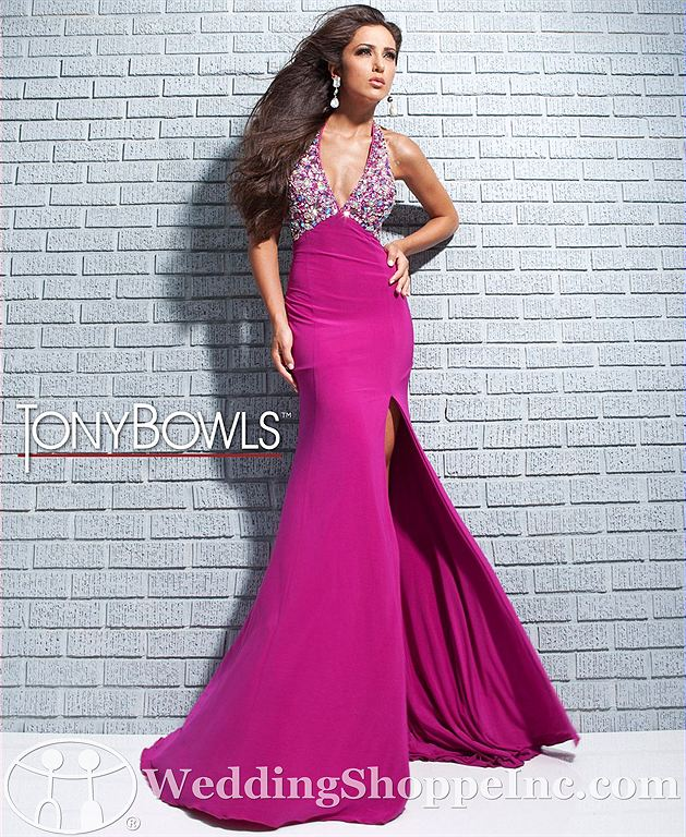 Halter sequin prom dress: Tony Bowls 113542
