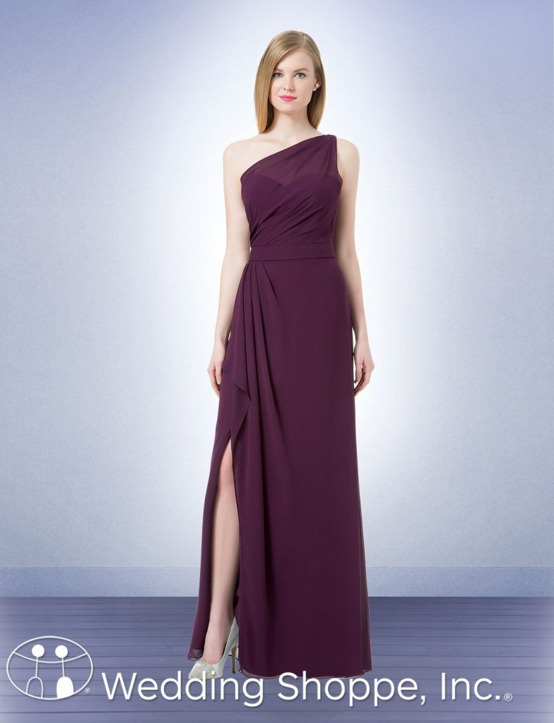 A long chiffon one-shoulder bridesmaid dress with a sheer neckline and side slit | Bill Levkoff 1203 | The Wedding Shoppe