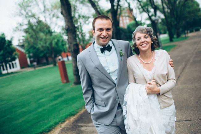 Grey-Suit-and-Lace-Bridal-Gown