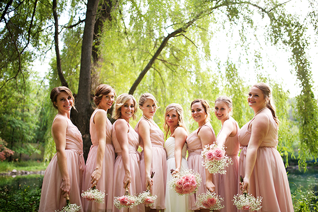 Blush Bridesmaids with Bouquets