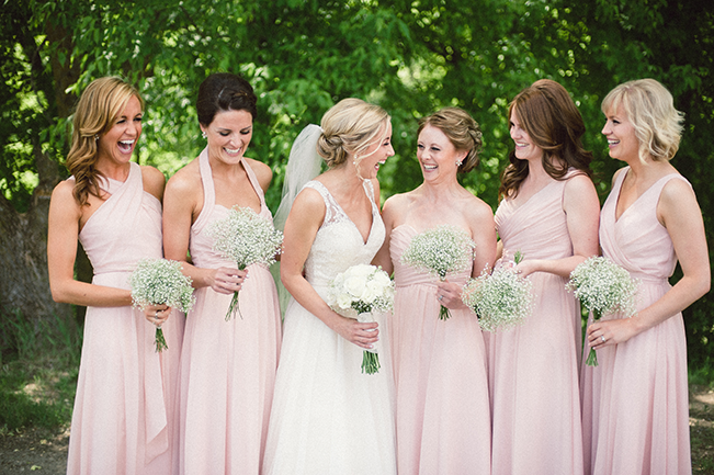 blush rustic bridesmaids