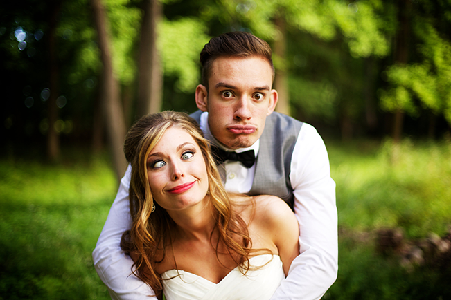 Bride and Groom Funny Face