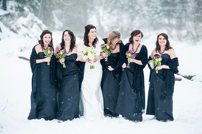 bride-and-bridesmaids-winter-wedding