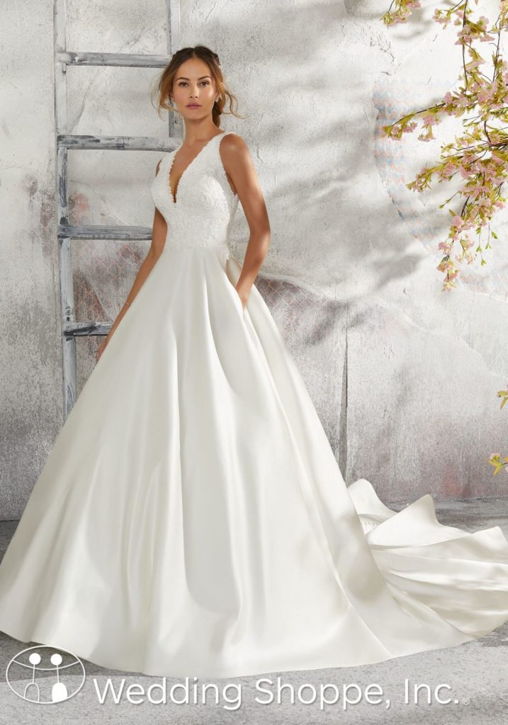 Blue by Mori Lee Satin Ball Gown