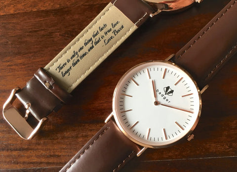 This personalized watch is perfect for the day of bride groom gift giving | 23 Unique Presents for the Bride & Groom Gift Exchange | The Wedding Shoppe
