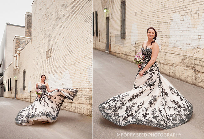 Bride in Black Lace Gown Poppy Seed