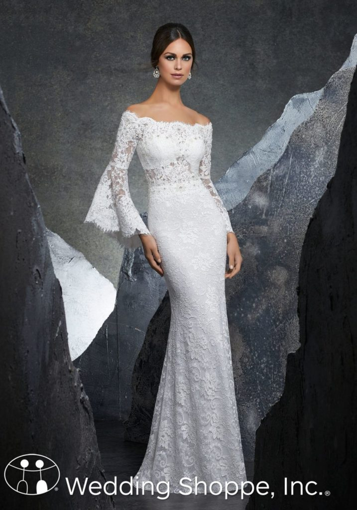 Bell sleeve off the shoulder by mori lee