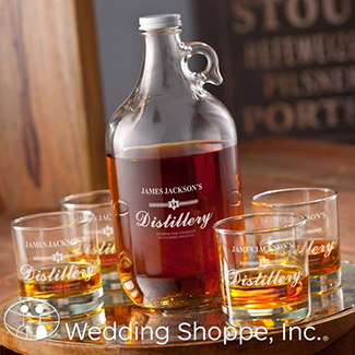 personalized growler and glasses bar set
