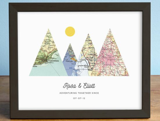 A mountain map gift for the adventurous couple | Unique Wedding Gifts for the Couple Who Has Everything | The Wedding Shoppe | AGierDesign