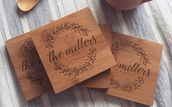 Gift engraved wooden coasters for the wedding gift | Unique Wedding Gifts for the Couple Who Has Everything | The Wedding Shoppe | WoodBeMine