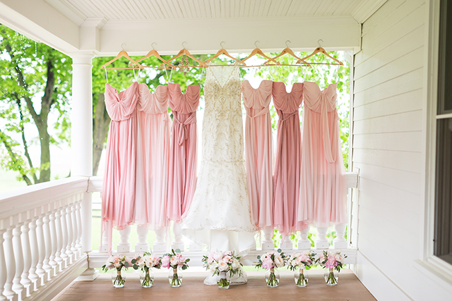After Six bridesmaid dresses in soft pink tones