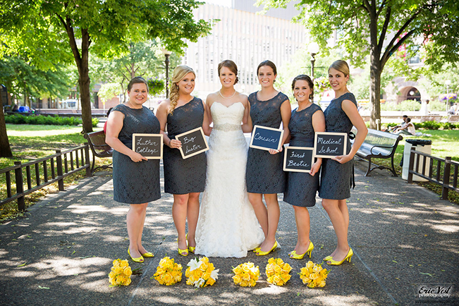 bridesmaids wearing charcoal lace dresses