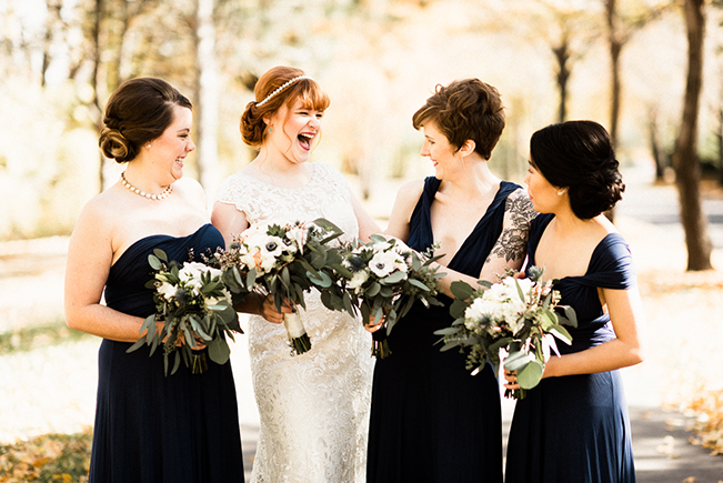 mismatched bridesmaid dresses in navy