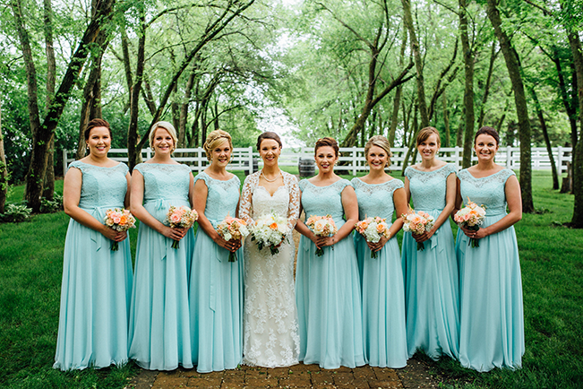 wedding party in modest dresses