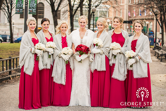 winter wedding bridesmaid dresses in claret