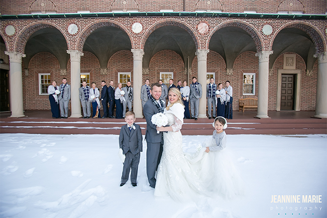 winter wedding bridal party in gray and navy