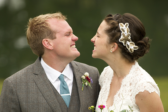 bride and groom making silly faces