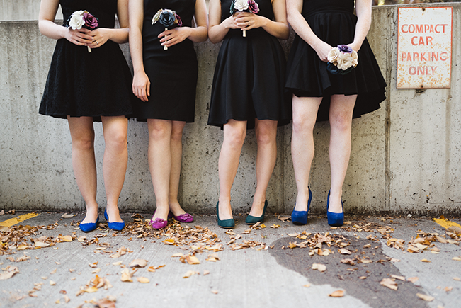 black bridesmaid dresses with jewel-toned shoes