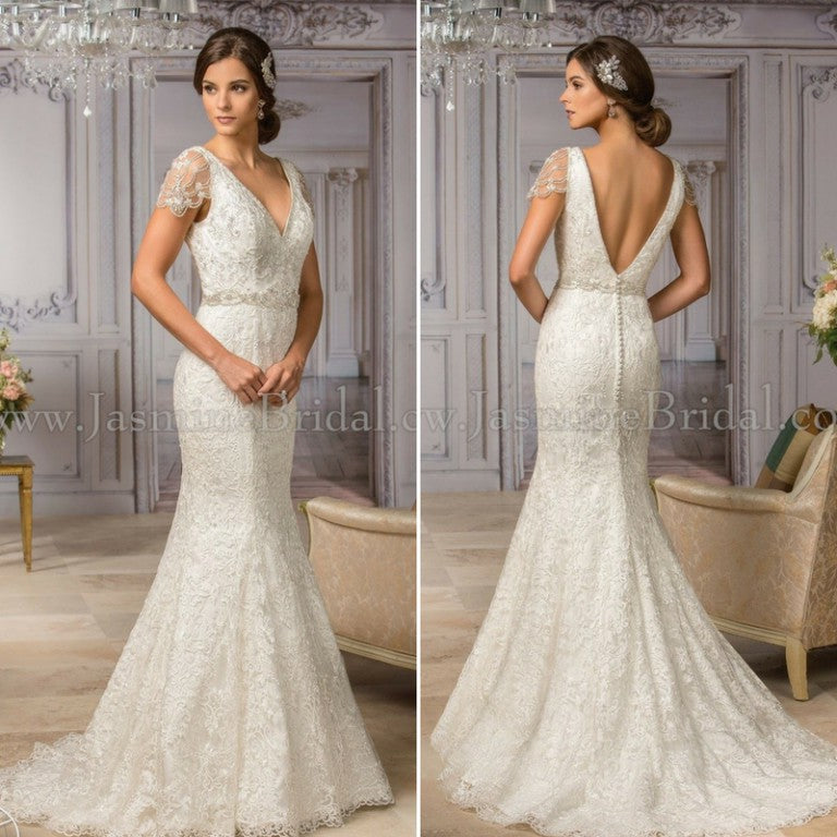 Cap Sleeve All Lace Deep V Neck Fit And Flare Wedding Dress With
