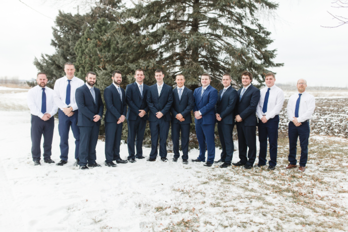 Festive navy suits for the guys