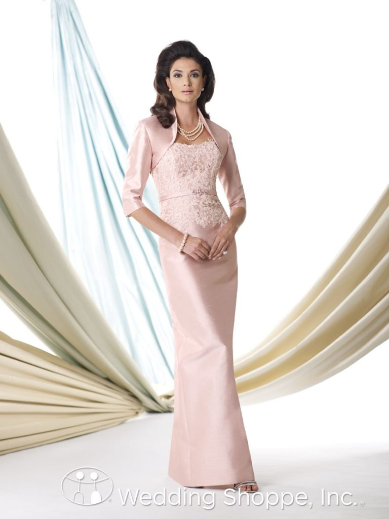 Pink lace mother of the bride dress