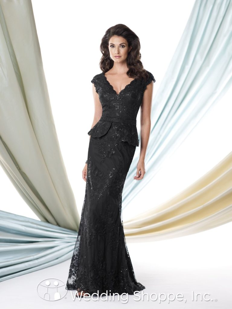 Black Sequin and Lace Mother Of The Bride Dress