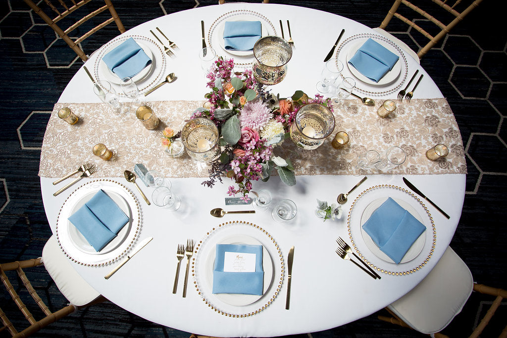 blue and pink wedding decor