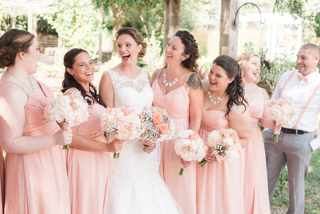 light pink bridal party